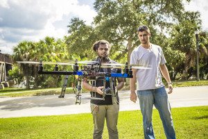 Dennis Dalli, an engineering systems master's degree student at Florida Tech, and Boluwin Ola, an undergraduate in aviation.