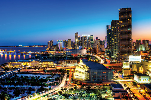 Downtown Miami gleaming at night.