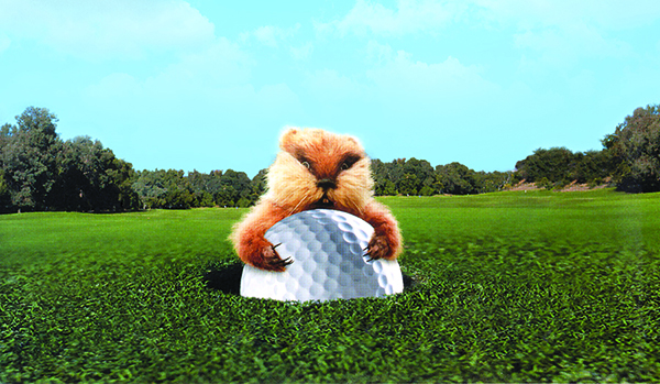 Caddyshack gopher with golf ball