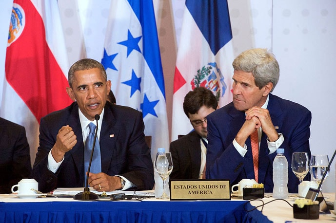 Secretary Kerry Listens as President Obama Addresses Central American Heads of State Meeting Amid Summit of the Americas in Panama
