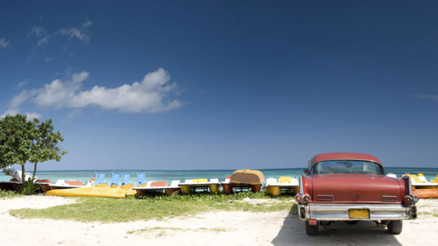 Vintage car at beach