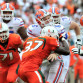 Florida Gators quarterback Jeff Driskel (6) is tackled by Miami Hurricanes defensive back Ladarius Gunter (37) during the second half at Sun Life Stadium.