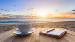 Coffee on table at beach
