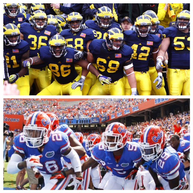 Michigan and Florida football teams