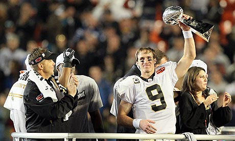 Drew Brees hoists trophy after the Saints win Super Bowl 44, the last played in Florida,