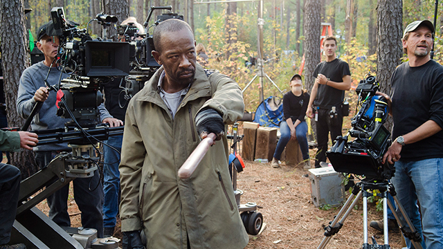 film crew working on an episode of The Walking Dead