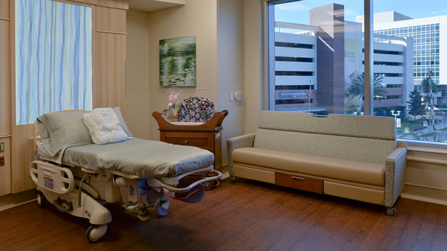 Patient room at Florida Hospital for Women