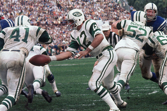 "Joe Namath's ""guaranteed"" 1969 upset of the Colts in Miami put the Super Bowl o the map."