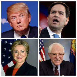From top left to bottom right: Donald Trump, Marco Rubio, Hillary Clinton and Bernie Sanders