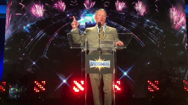 Mayor Buddy Dyer at WrestleMania press conference in Orlando