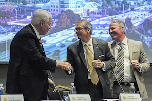 Dr. Hitt, Board of Trustees Chairman Marcos Marchena and Orlando Mayor Buddy Dyer