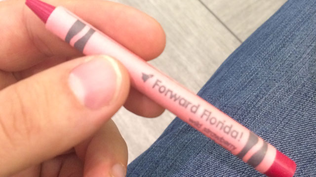 FORWARD Florida red crayon