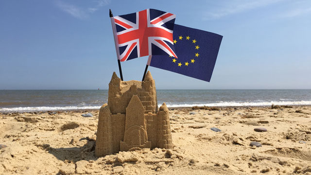 Brexit flags on beach