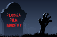 Florida film industry tombstone in graveyard