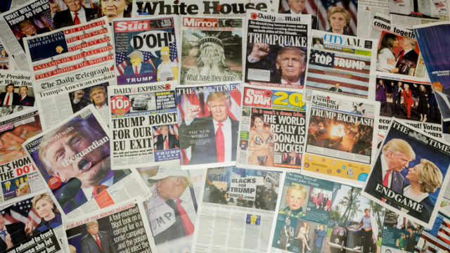 British newspaper front pages reporting on the US presidential election result in which Donald Trump became the 45th president of the United States.